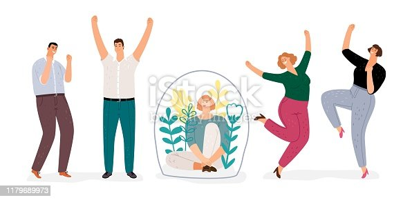 Introvert vs extravert. Introverted girl character, flat happy men and woman dancing. Extraversion, Introversion vector concept