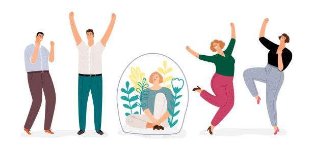 Introvert vs extroverted Introvert vs extravert. Introverted girl character, flat happy men and woman dancing. Extraversion, Introversion vector concept showing off stock illustrations