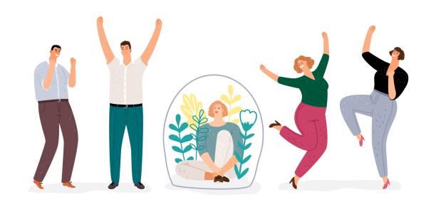Introvert vs extroverted vector art illustration
