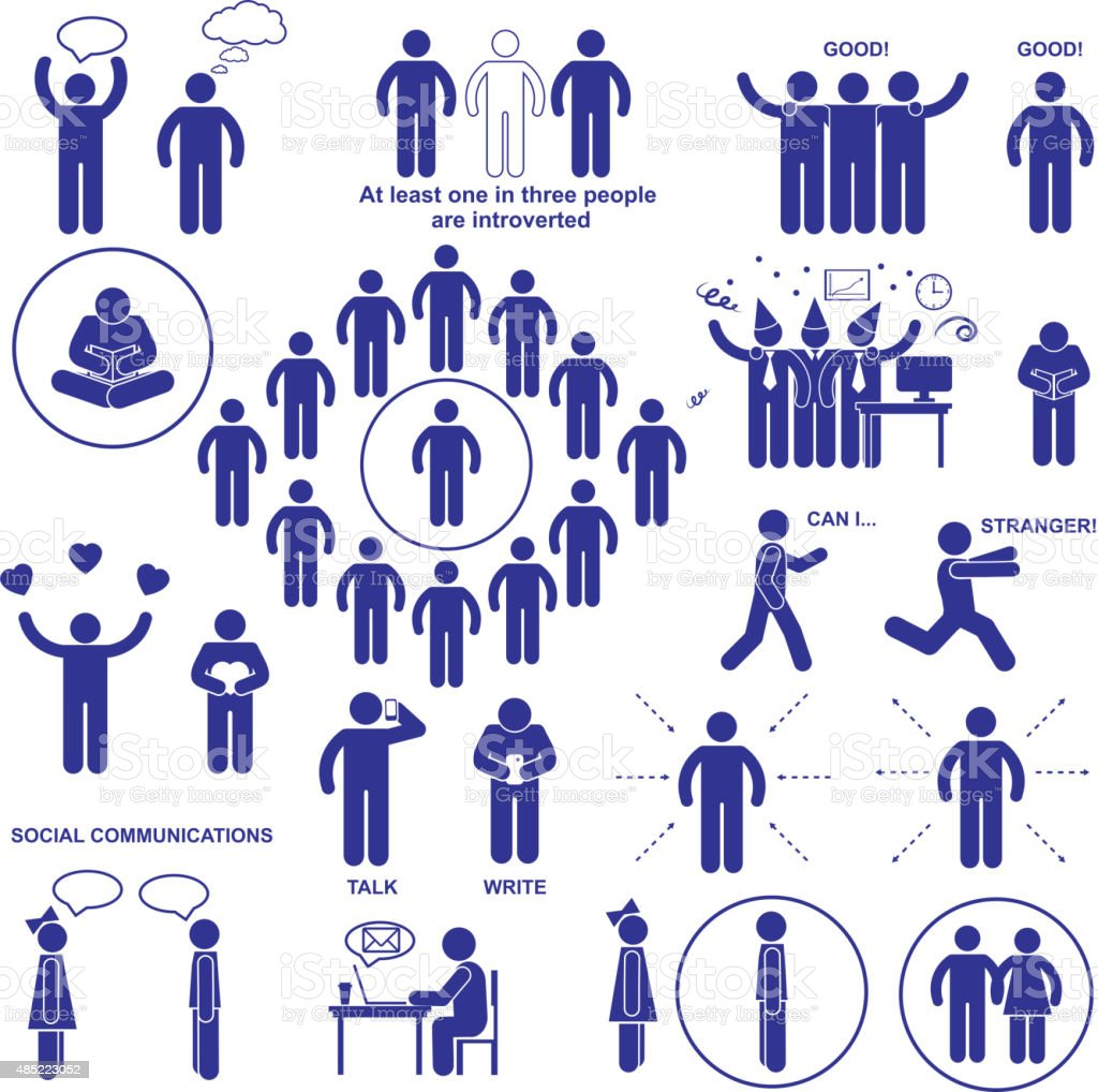 Introverts and extroverts vector pictograms. vector art illustration