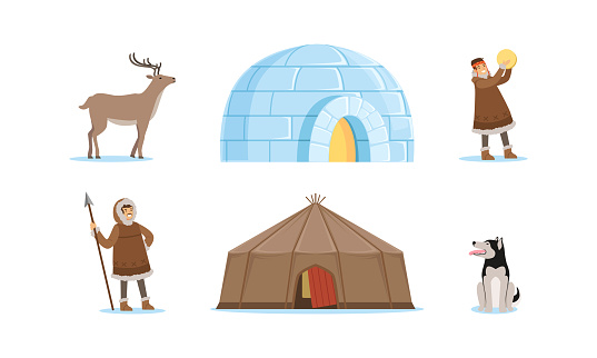 Inuit Characters in Traditional Clothing and Arctic Animals Vector Set
