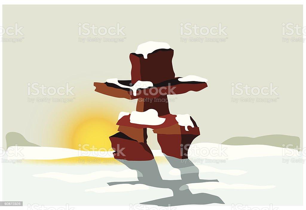 Inukshuk at sunset vector art illustration