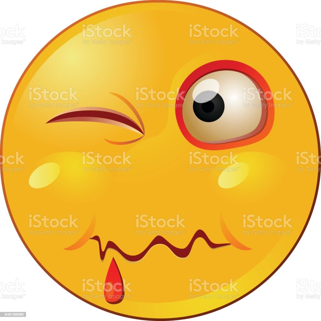 Inured emoticon or emoji vector vector art illustration