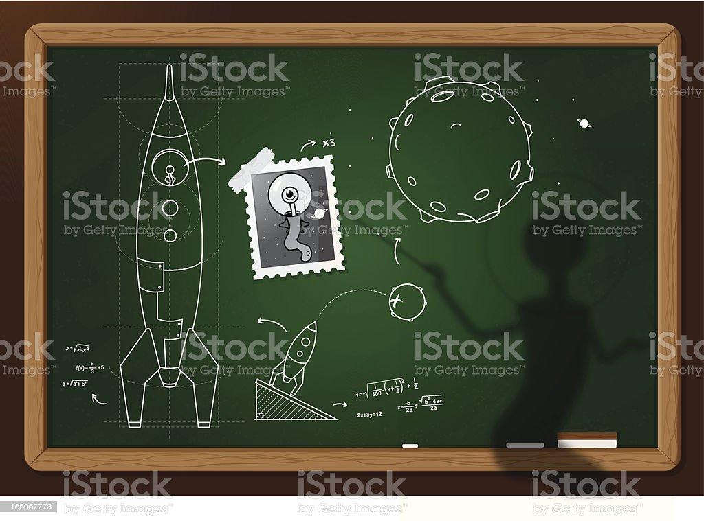 Invasion plan of cute Martian vector art illustration