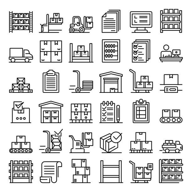 ilustrações de stock, clip art, desenhos animados e ícones de inventory icons set, outline style - warehouse