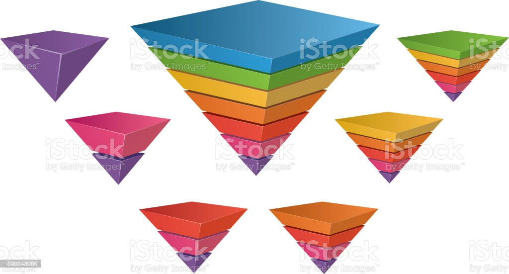 Inverted Pyramid chart (1-7 layers) vector art illustration