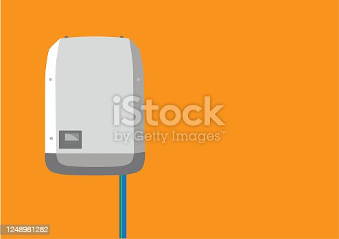 istock Inverter in flat design -  Solar Energy Equipment Concept Image. Space for text. 1248981282