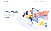 Invest money wisely concept in isometric vector illustration. Long term financial investment with smartphone analytics tool app. Web banner layout template for website or social media.