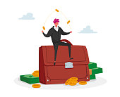 Invest Portfolio, Stock Market Trading Concept. Tiny Investor Male Character Sitting at Huge Briefcase Juggling with Coins. Professional Economic Management Strategy. Cartoon Vector Illustration