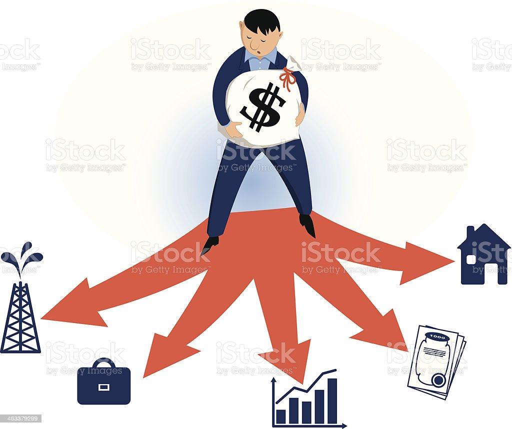 Invest wisely vector art illustration