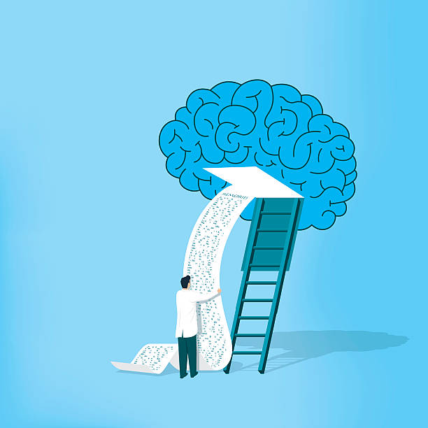 Investigating Alzheimer vector art illustration