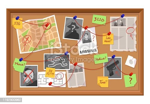 istock Investigation board. Crime evidence connections chart, pinned newspaper and photos. Research scheme on detective board vector concept 1192900962