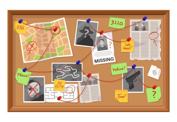 Investigation board. Crime evidence connections chart, pinned newspaper and photos. Research scheme on detective board vector concept Investigation board. Crime evidence connections chart, pinned newspaper and photos. Research scheme on detective board cartoon vector working plan of detection concept cutting board stock illustrations
