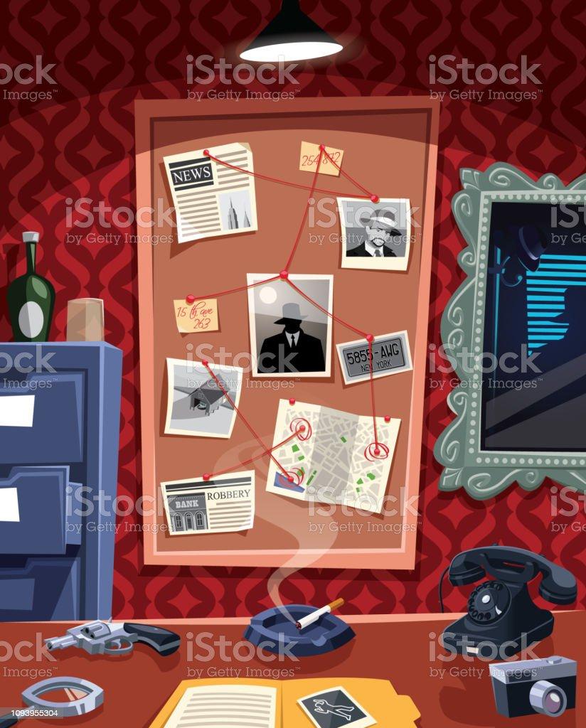 Investigation board in detective office - arte vettoriale royalty-free di Ambientazione interna