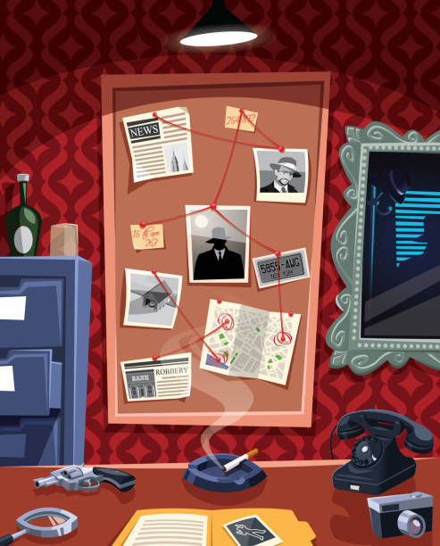 Investigation board in detective office Investigation board in detective office detective stock illustrations