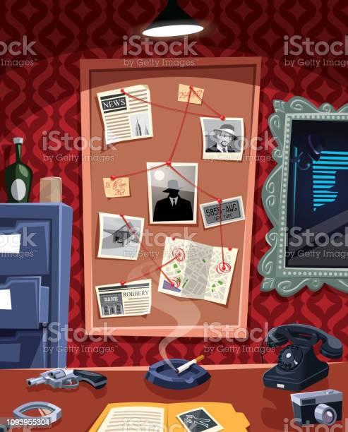 Investigation Board In Detective Office - Immagini vettoriali stock e altre immagini di Ambientazione interna