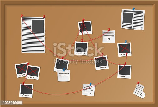 Investigation board with pinned photos, newspapers and notes. Detective map vector illustration. Cops plan for solve the crime.
