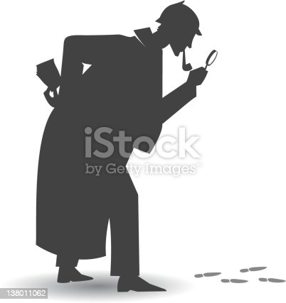 Illustration of a detective Silhouette following some footpath, with a magnifier glass. the investigator is a whole vector shape.