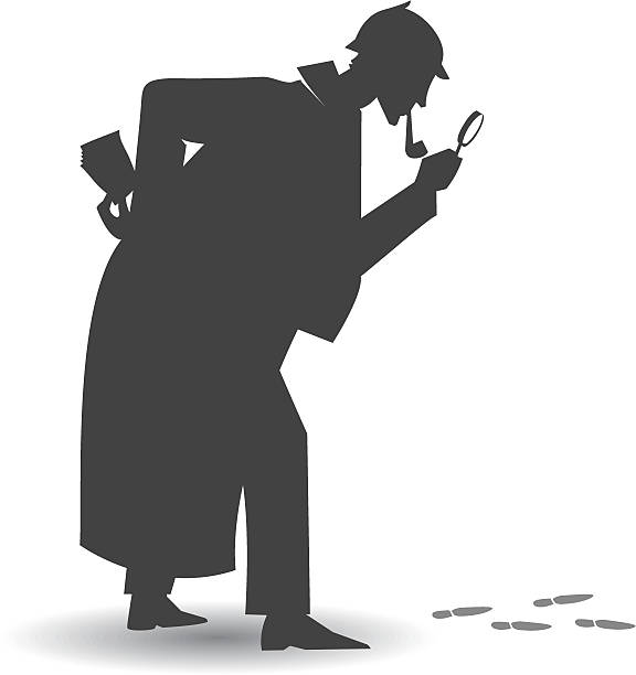 Investigator silhouette Illustration of a detective Silhouette following some footpath, with a magnifier glass. the investigator is a whole vector shape. sherlock holmes stock illustrations