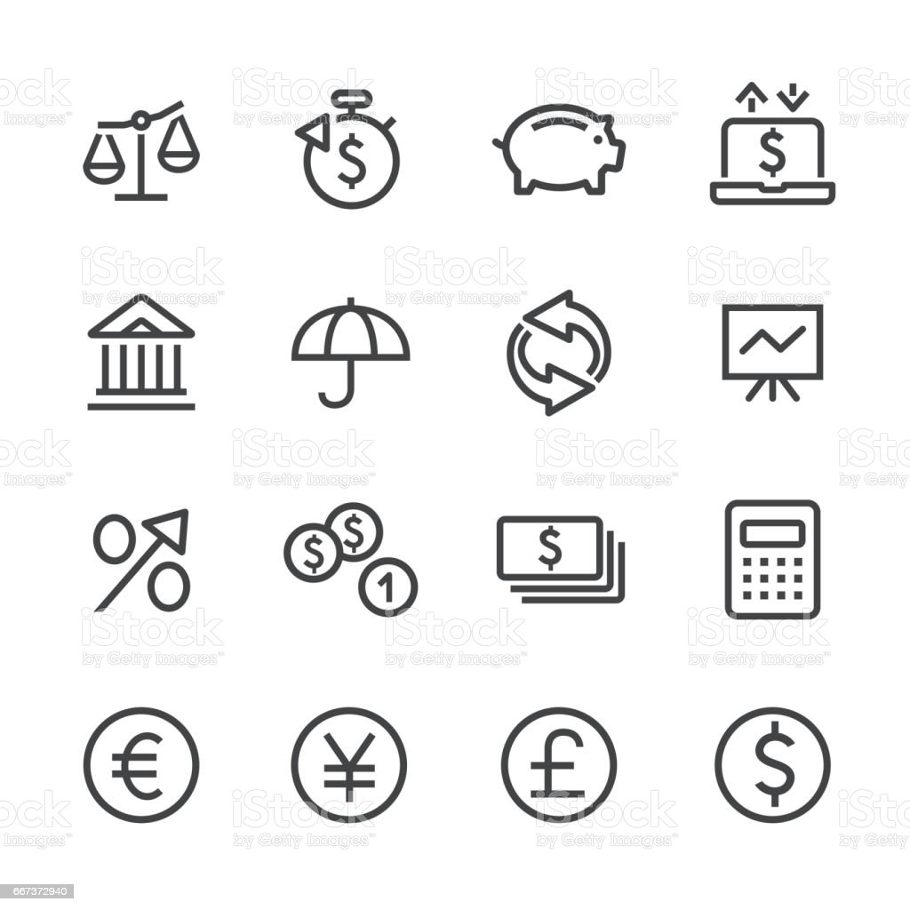 Investing and Finance Icon Set - Line Series vector art illustration
