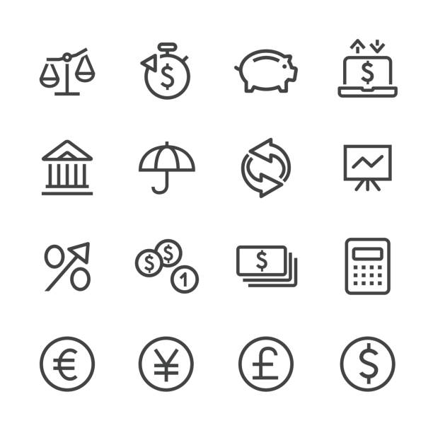 Investing and Finance Icon Set - Line Series Investing and Finance Icon japanese currency stock illustrations