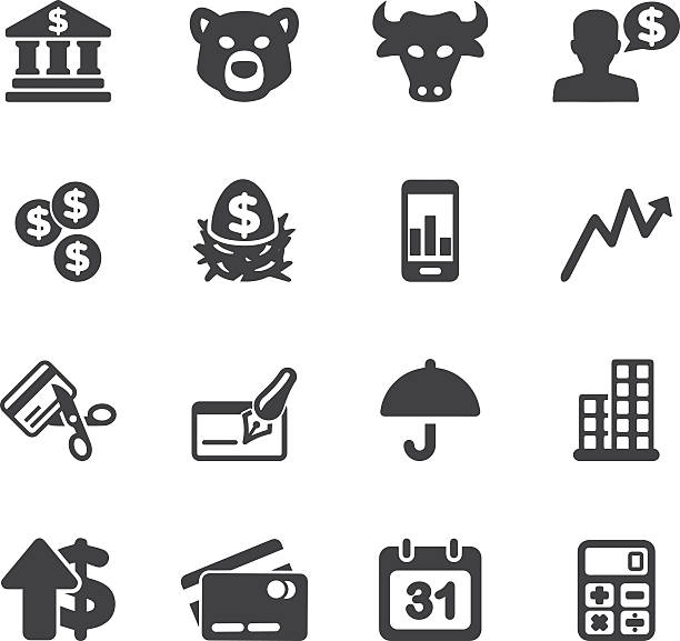 Investing and Finance Silhouette icons | EPS10 Investing and Finance Silhouette icons  nest egg stock illustrations
