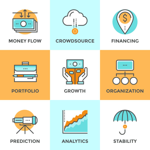 Investing and financing line icons set Line icons set with flat design of money growth, financial planning, investment portfolio, crowdsource funding, market data analytics, business vision. Modern vector symbol pictogram collection concept. stability stock illustrations