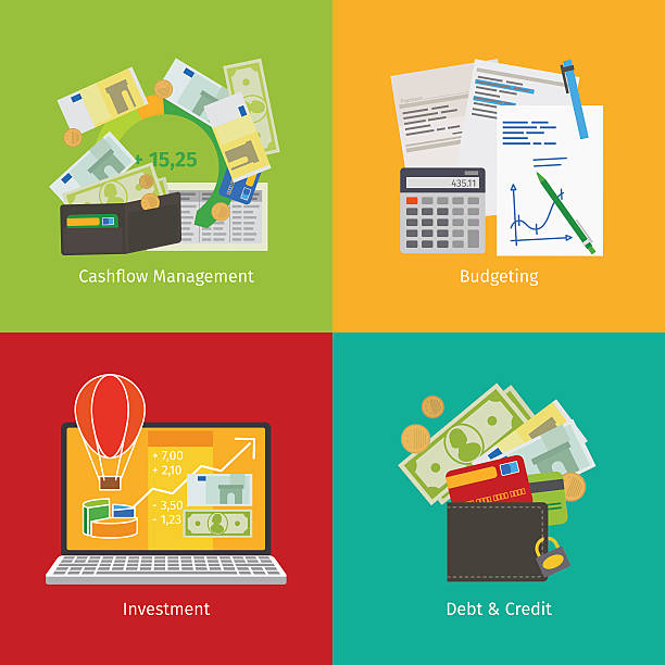 investitionen und persönliche finanzen - oberhaus stock-grafiken, -clipart, -cartoons und -symbole