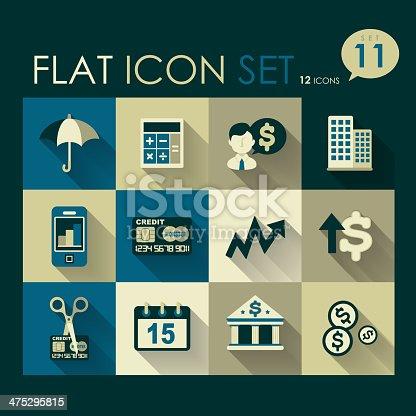 investing & finance icon set vector flat design