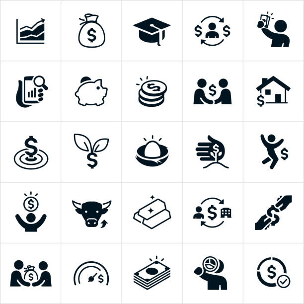 Investing Icons A set of 25 investing icons. The icons include a line graph pointing upwards, a bag of money, a graduation cap, a person holding cash, a piggy bank, a stack of coins, an investment made with a handshake, a home, money growth, financial target, nest egg, stock market, gold bars, property investment and a stack of cash among others. nest egg stock illustrations