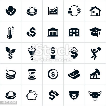 Icons representing the investment industry. The icons include common investment methods like the stock market, mutual funds, precious metals, real estate and education.