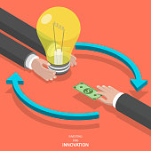 Investing into innovation flat isometric vector concept. Mans hands offer lightbulb and other mans hand instead of it gives bank note.
