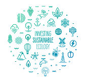 Investing sustainable ecology outline style symbols on modern gradient background. Line vector icons for infographics, mobile and web designs.