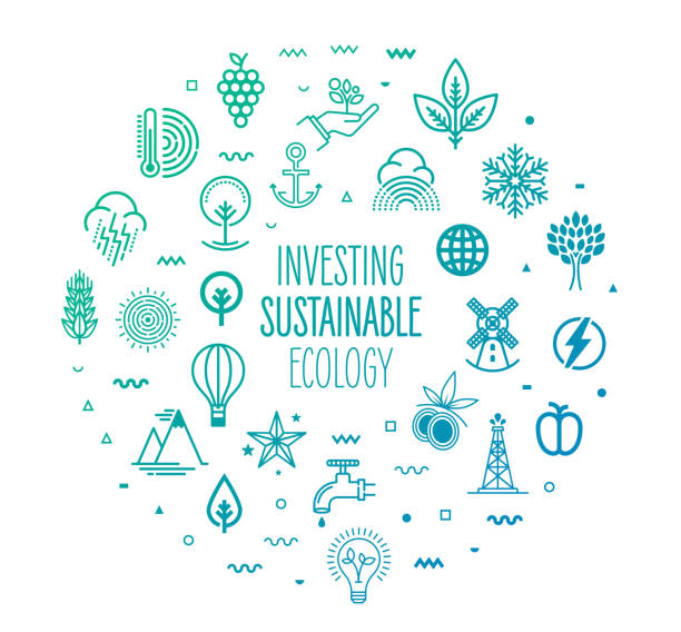 Investing Sustainable Ecology Outline Style Infographic Design Investing sustainable ecology outline style symbols on modern gradient background. Line vector icons for infographics, mobile and web designs. urban gardening stock illustrations