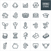 A set of investing icons that include editable strokes or outlines using the EPS vector file. The icons include a nest egg, jewelry, money, cash, gold, coins, precious metals, house, bank, business building, graduation cap and piggy bank. They also symbolize concepts of growth, the stock market and investing.