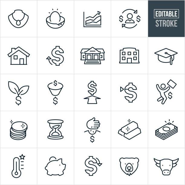 Investing Thin Line Icons - Editable Stroke A set of investing icons that include editable strokes or outlines using the EPS vector file. The icons include a nest egg, jewelry, money, cash, gold, coins, precious metals, house, bank, business building, graduation cap and piggy bank. They also symbolize concepts of growth, the stock market and investing. conceptual symbol stock illustrations