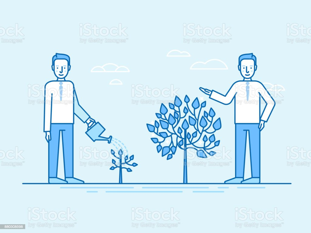 Investing time and effort in growing business concept vector art illustration