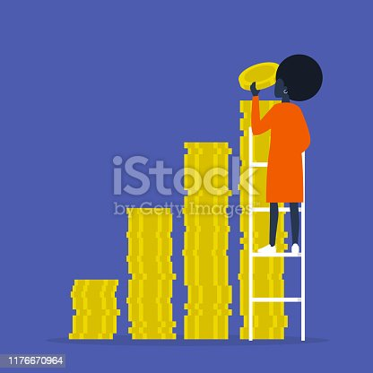 IPO. Investment. A stack of coins. Business. Finance. Young black female character climbing up the ladder. Success.