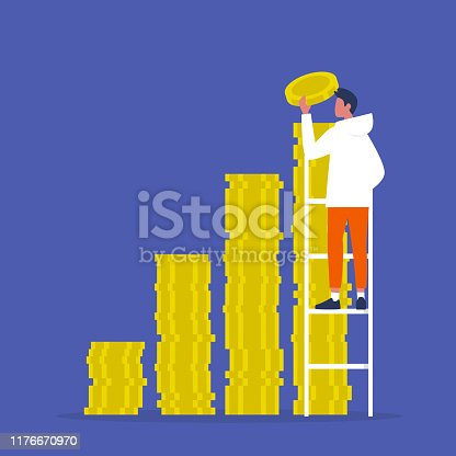 IPO. Investment. A stack of coins. Business. Finance. Young character climbing up the ladder. Success.