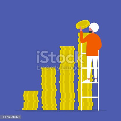 IPO. Investment. A stack of coins. Business. Finance. Young indian male character climbing up the ladder. Success.