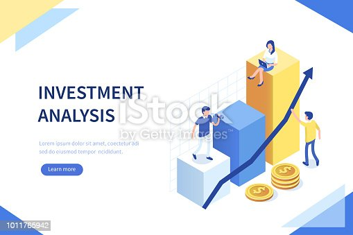 Investment analysis concept banner with characters. Can use for web banner, infographics, hero images. Flat isometric vector illustration isolated on white background.