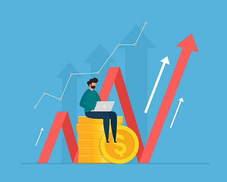 Investment and analysis money cash profits. Successful investor or entrepreneur making investing plans.