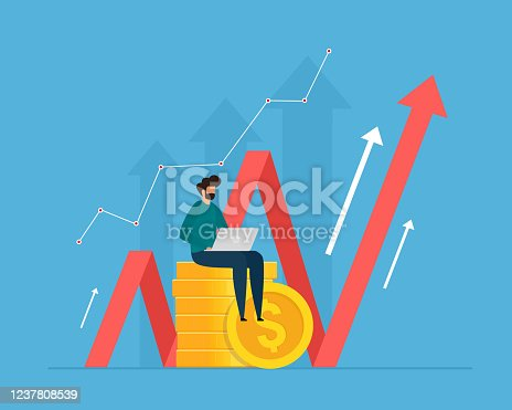 istock Investment and analysis money cash profits. Successful investor or entrepreneur making investing plans. 1237808539