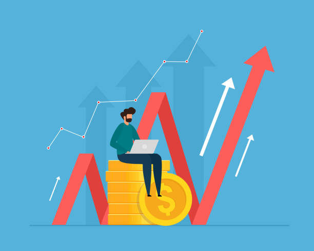 Investment and analysis money cash profits. Successful investor or entrepreneur making investing plans. vector art illustration