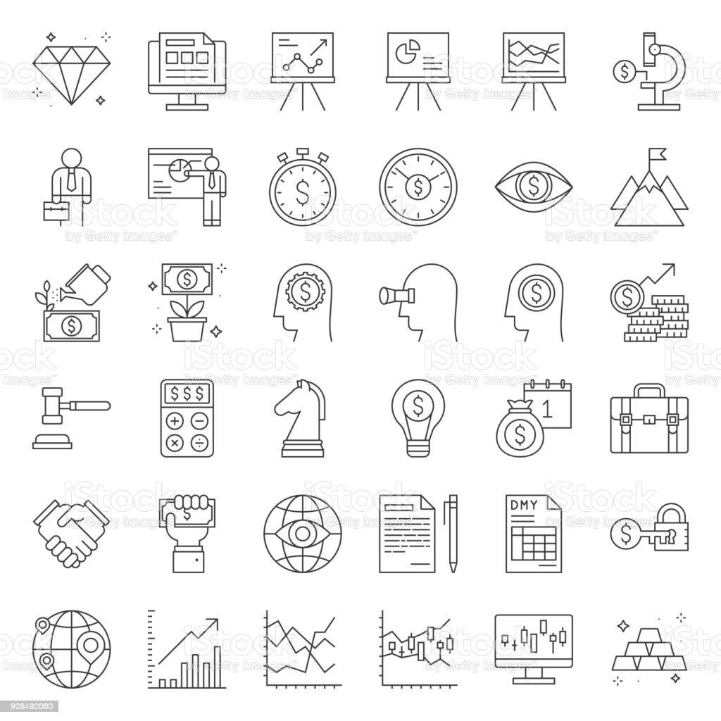 Inversión y negocios analizar, delgada línea icon set - ilustración de arte vectorial