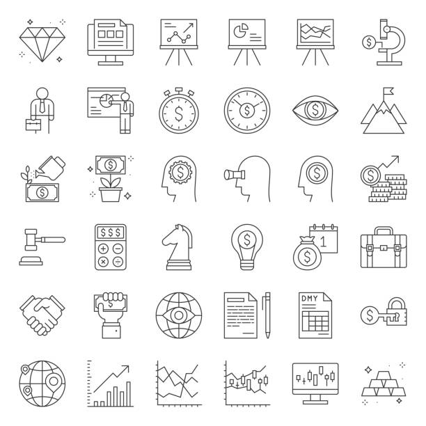 investment and business analyze, thin line icon set - azja południowo wschodnia stock illustrations