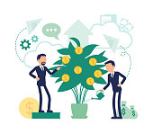 Investment and business dividends. Efficient male managers watering money tree for bigger profit, company shareholders growing golden coins. Vector abstract illustration with faceless character