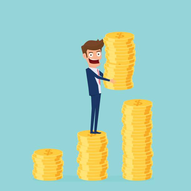 Investment and saving concept. Businessman holding gold coin and putting in the pile. Increasing capital and profits. Wealth and savings growing. Investment and saving concept. Businessman holding gold coin and putting in the pile. Increasing capital and profits. Wealth and savings growing. Cartoon Vector Illustration. bonus march stock illustrations