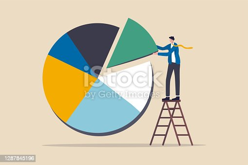 istock Investment asset allocation and rebalance concept, businessman investor or financial planner standing on ladder to arrange pie chart as rebalancing investment portfolio to suitable for risk and return 1287845196