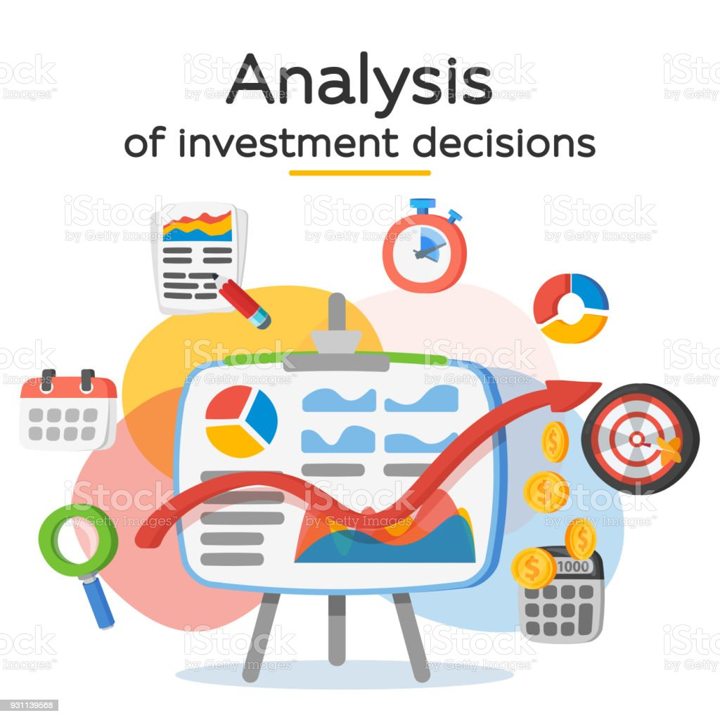 Investment attraction case studies and analysis. Return on investment, ROI, Business, profit. Profit schedule. Business icons in a modern flat style. Banner for website and ads. Vector illustration. Accountancy stock vector